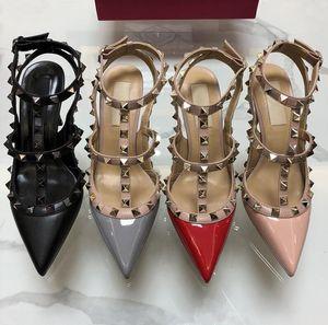 2019 Марка женщины насосы свадебные туфли женщина на высоких каблуках сандалии обнаженной Моды лодыжки ремни заклепки обувь сексуальные высокие каблуки свадебные туфли