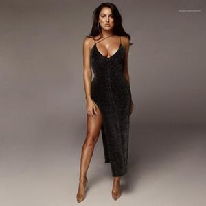 Bölünmüş Elbiseler Seksi Scoop Boyun Kolsuz Elbise Moda Katı Renk Bodycon Elbiseler Bayan Giyim Bayan Tasarımcısı