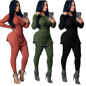 New Autumn Winter Women 'S Set Tracksuit O Neck Full Sleeve Top Pants Suit Two Piece Set Knitting Solid Outfits Sporty S-2XL