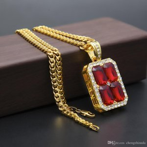 Mens Four Red blue black Square Ruby Pendant Necklace Gold Silver plated Chain 5mm 30inch Square Connected End to End Style Fashion Jewelry