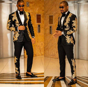 Newest Black with Gold Embroidery Men Suits Two Pieces Shawl Lapel Blazer Slim Fit Wedding Tuxedos Fashion Mens Jacket and Pants