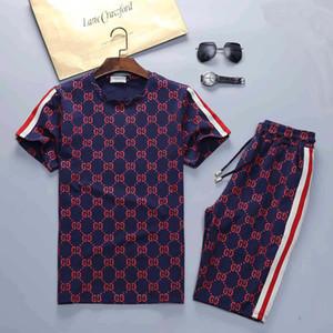 ropa deportiva de diseño hombres de la primavera y el verano traje de lujo de la marca de los hombres traje de jogging camiseta + pantalones de deporte damas traje de hip-hop de alta calidad