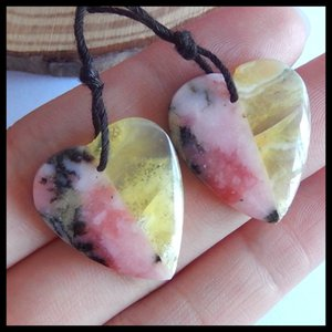 Pink opal with Yellow opal Intarsia heart Earring Beads,Hot Selling,Charms Women Jewelry Gift Gem Customized,24x21x4mm,5.1g