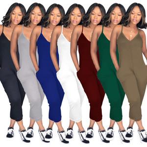 여성 Sleevless 슬림 점프 슈트 V 넥 포켓 바지 클럽 Sexy backless 캐주얼 솔리드 Playsuit Party Ladies Rompers 복장 여성 점프 슈트