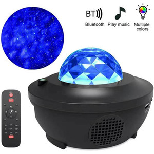 Colorido Starry Sky Projetor Luz Bluetooth Voz Controle de Voz Music Player Speaker Led Night Light Galaxy Star Projection Lâmpada Aniversário