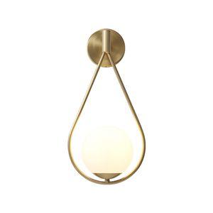 간단한 예술 장식 LED 가 벽 램프 구리 유리 벽 Sconce 대 옆 실내 홈등기구 E27 램프 벽 램프를 위한 거실