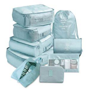 9 peças Bolsas Kit de viagem Organizador de armazenamento casos previstos portátil de armazenamento de bagagem Organizador roupas sapatos Tidy Bolsa Suitcase embalagem