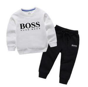 Primavera e outono crianças esportes adequar manga comprida em torno do pescoço roupas designer de bebé letra imprimir roupas de designer do bebé de duas peças