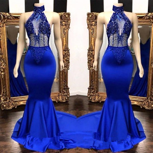 Royal Blue Satin Mermaid Long Prom Dresses 2019 Halter Major Beaded Sequins Top Formal Sweep Train Party Evening Dresses BC0798