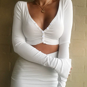 Waatfaak scollo a V Harajuku maniche lunghe T Shirt Donne Bassiera cotone Plain White T camicie button sexy T-shirt Undershirt Autunno Y200109