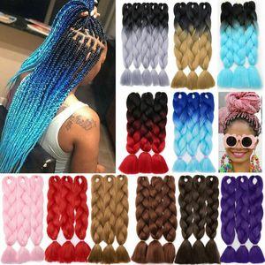 1PCS Ombre synthétique Braid Dreads Dreadlocks Extensions cheveux haute température fibre Crochet Tresses Femmes Africaines style