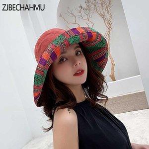 ZJBECHAHMU Moda Sólidos Algodão Vintage chapéus de sol para as mulheres Summer Girl Caps pára-sol de praia chapéus 2019 Novas Fedoras Acessórios