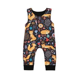 0-18M Fox del bebé mamelucos moda de primavera recién nacido ropa de bebé para los muchachos sin mangas del mono para niños Princess Conjuntos de ropa