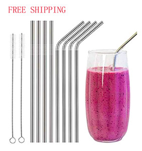 Cheapest Reusable Stainless Steel Straws straight and bend FDA-Approved three size and cleaning brush drinking straw bar drinking tool