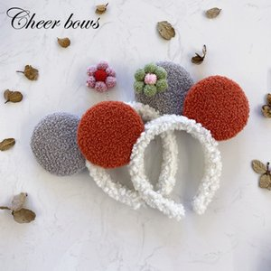 2 Pcs lots Furry Lambswool Headband Bezel Candy Color Face Wash Bear Ear Head Hoop Elastic hair band Headwear Hair accessories