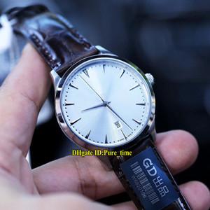 6 Color Master 1288420 Q1288420 Fecha esfera blanca Miyota 8215 Reloj automático para hombres Caja de acero Correa de cuero Zafiro Hombres Relojes