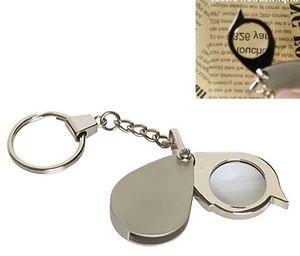 Portátil 8X Folding Key Anel de vidro Magnifier com chaveiro impermeável diário de ampliação ferramenta de bolso