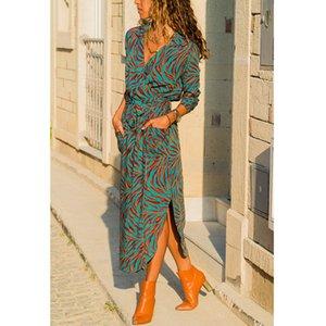 Kadın bohemian baskılı kemer parti dress three çeyrek kollu v boyun düz casual dress 2019 yaz yeni moda kadınlar dress