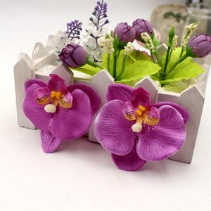 100pcs / lot 6.5cm İpek Kelebek Orkide Düğün Ev Dekorasyon Orchs Flores Cymbidium Sahte Bitkiler için Yapay Çiçekler Başkanı