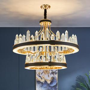 crystal chandelier modern minimalist atmosphere living room dining room new leather circular iceberg bedroom crystal lamp UPS DHL