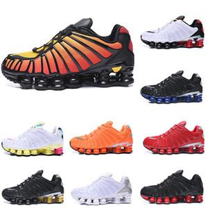 Nike SHOX TL Running Shoes para os homens wome SUNRISE branco amarelo rosa Triplo Preto da Universidade Vermelho Branco das sapatilhas dos homens Eur40-46