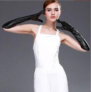 Donna inverno in pelle di lusso originale guanti moda super tubo lungo morbido caldo taglio sexy ciclo antivento prestazioni guanti dito a sfera