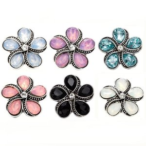5pcs lot New 18mm Metal Snap Buttons Jewelry Rhinestone Sunflowers Snap Button Jewelry Fit 18mm Button Necklace