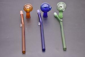 Renkli 14 cm Kavisli Cam Yağ brülörleri boru yeni tasarım Cam yağ tüp boru ile 10mm kadın kubbe Su Borular