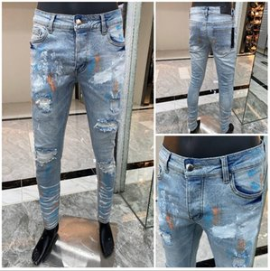 NEW High Quality Mens Stripe jeans high quality Zipper Skinny Biker jeans trousers Mens Cotton jeans Mens Denim Pants Casual Trousers 9820