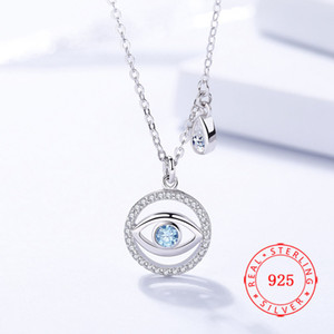 Alta clássico Qualidade turca 925 Sterling Silver Womens Cubic Zirconia diabo azul mal colar de pingente olho