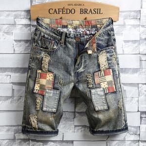 Pop2019 European Trend Личность Характеристика Ковбойские шорты Человек High Street Отверстия Патч Нищие Брюки Джинсы