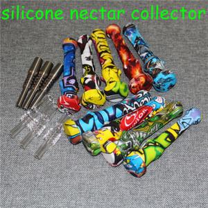 Neues Silikon Nektar-Kollektor mit Titan-Nagel-Spitzen-Silikon-Containern Reclaimer Nectar Collector Kit für Werkzeuge Silikon Pfeife rauchend