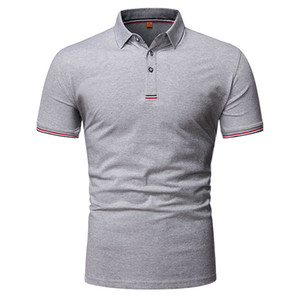 Mens 2020 Luxury Designer Polos Summer Short Sleeve Lapel Neck Solid Color Business Tshirt Male Clothing
