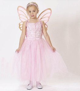 Baby Girls Pink Fairy Cosplay Princess Dress Gonne + Butterfly Wing + archetto 3 pezzi / set Fiore Fairy Dress Halloween Giochi di ruolo Costume M193