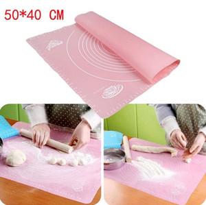 kadranı ile Silikon pişirme ped 50 * 40cm yapışmaz yoğurma mat Silpat fondan kil pasta fırında araçları için hamur mat pasta panoları