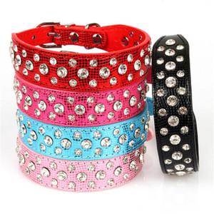 Brand New Wildleder Hundehalsbänder 3 Reihen Strass Hundehalsband diamante Cute Pet Collars 100% Qualität 4 Größen erhältlich