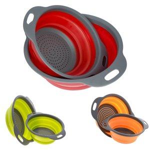 Großhandel 2 PCS / Set Platzsparende Küche Zusammenklappbare Silikon Colander / Sieb Falten Filter Obstkorb Freies Verschiffen