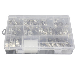 1 Box of 60 PCS Mixed Charging Pipe Hose Hoop Clip 304 Stainless Steel Hose Clip 8-38mm Series Combination Assembly