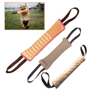 Newly 1 Pcs Dog Tug Toy Bite Pillow Strong Pull Toy Dog Training with 2 Rope Handles VA88