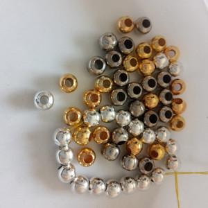 Venta al por mayor 500 unids Granos Redondos Granos del agujero 4mm / 6mm / 8mm Granos Huecos Brillantes haciendo Pulseras Collar Diy Joyería de moda Encontrar