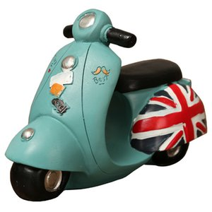 British Retro Piggy Bank Motorcycle Model Decoration Figurines Living Room Cafe Resin Motorcycle Craft Ornament Home Decor Blue