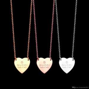 lüks tasarımcı G harfi moda tarzı ile takı kadın kolye aşk kalp kolye kolye paslanmaz gümüş zincir