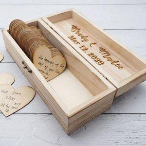 Mariage personnalisé Livre avec des coeurs, personnalisé rustique Keepsakes alternatif cadeau, Gravé Wood Sign mariage Livre d'or Boîte