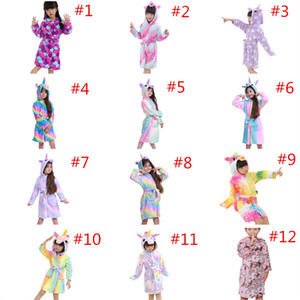 Unicorn Nightgowns Baby Girls Bathrobe Flannel kids Hooded High Quality One-piece Pajamas Children Night Wear Clothes Home Cosplay Pajamas