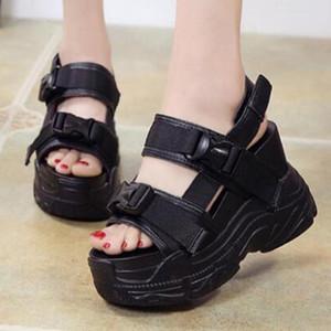 Chunky nuevo verano mujeres de las sandalias de la cuña de los altos talones de moda femenina cuero de la plataforma Aumentar informal dentro de la mujer de la sandalia ll102