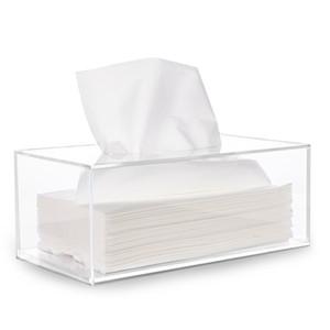 Mouchoirs en papier Distributeur Box Cover Support acrylique transparent Rectangle serviette Organisateur pour salle de bain Cuisine et salle de bureau