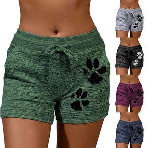 Verano Mujeres Pantalones cortos de secado rápido del lazo de la pata del gato Tamaño de impresión de alta cortocircuito de la cintura Plus playa de las mujeres Cortocircuitos del botín