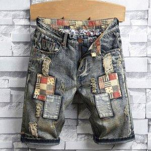 Siyah Kot Erkekler Rasgele Denim şortlar Biker Skinny Jeans Yıpranmış Slim Fit Denim şort Boyutu Ripped 28-40