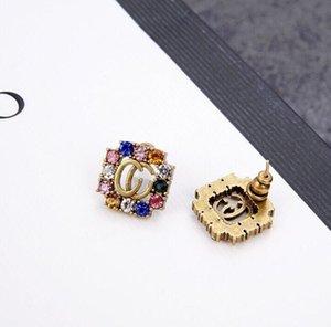 Nuovi orecchini femminili lettere colorate orecchini di strass Retro orecchini lettera G di alta qualità accessori femminili regalo