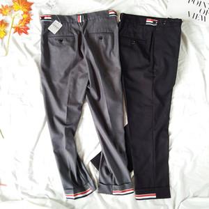 """De alta qualidade mistura de lã de baixo crescimento Skinny Fit 1"""" RWB Cuff Detalhamento As calças colhidas das mulheres clássicas Cavalaria Sarja calças masculinas"""